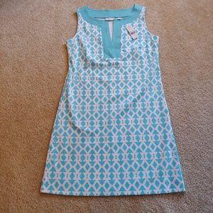 NWT ny&c blue and white sleeveless midi dress